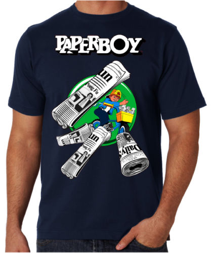 Paperboy 80s Arcade Game Retro Gamer Console Video Game Fun Blue T Shirt Cheap Crew Neck ...