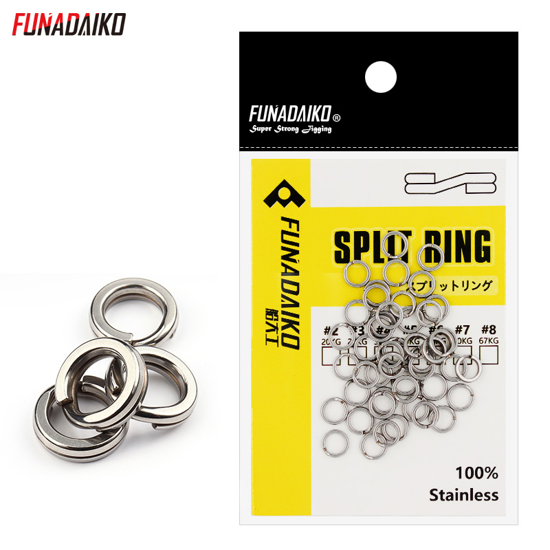 FUNADAIKO Stainless Steel Fishing Split Rings Flat Fishing Swivel Knot Lure Double Loop Quick Change Fishing Split Rings