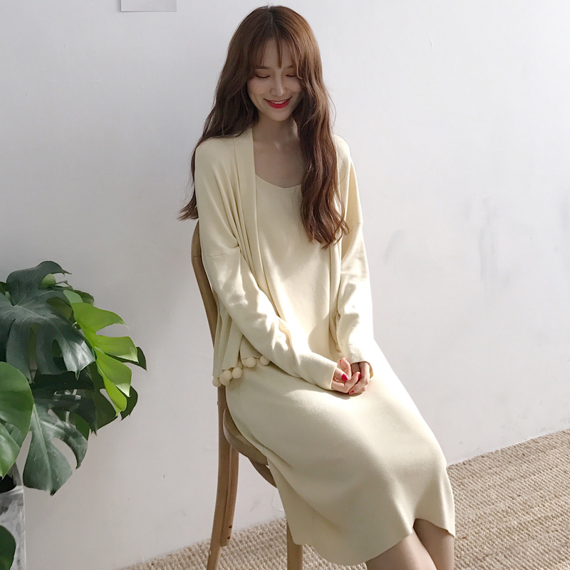 New Women Long dress Knitting Spaghetti Strap Solid Quality + Sweater Dresses Black Apricot Cardigan 1008
