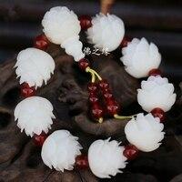 משלוח חינם הטבעי בודהי שורש לוטוס סגנון יד מחרוזת של בעבודת יד טהורה גברים קסם צמיד זרע בודהי המקורי בן נשים