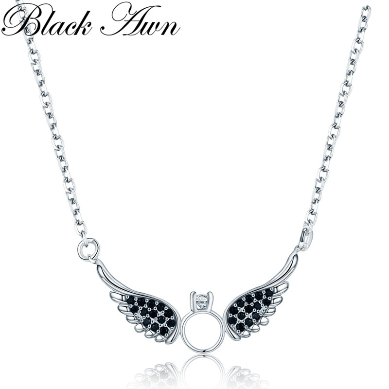 New Arrive Classic 925 Sterling Silver Fine Jewelry Trendy Wing Engagement Necklaces & Pendants For Women P195