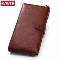 KAVIS Genuine Leather Wallet Female Clutch Walet Portomonee Rfid PORTFOLIO Long Women Perse Card Holder Handy