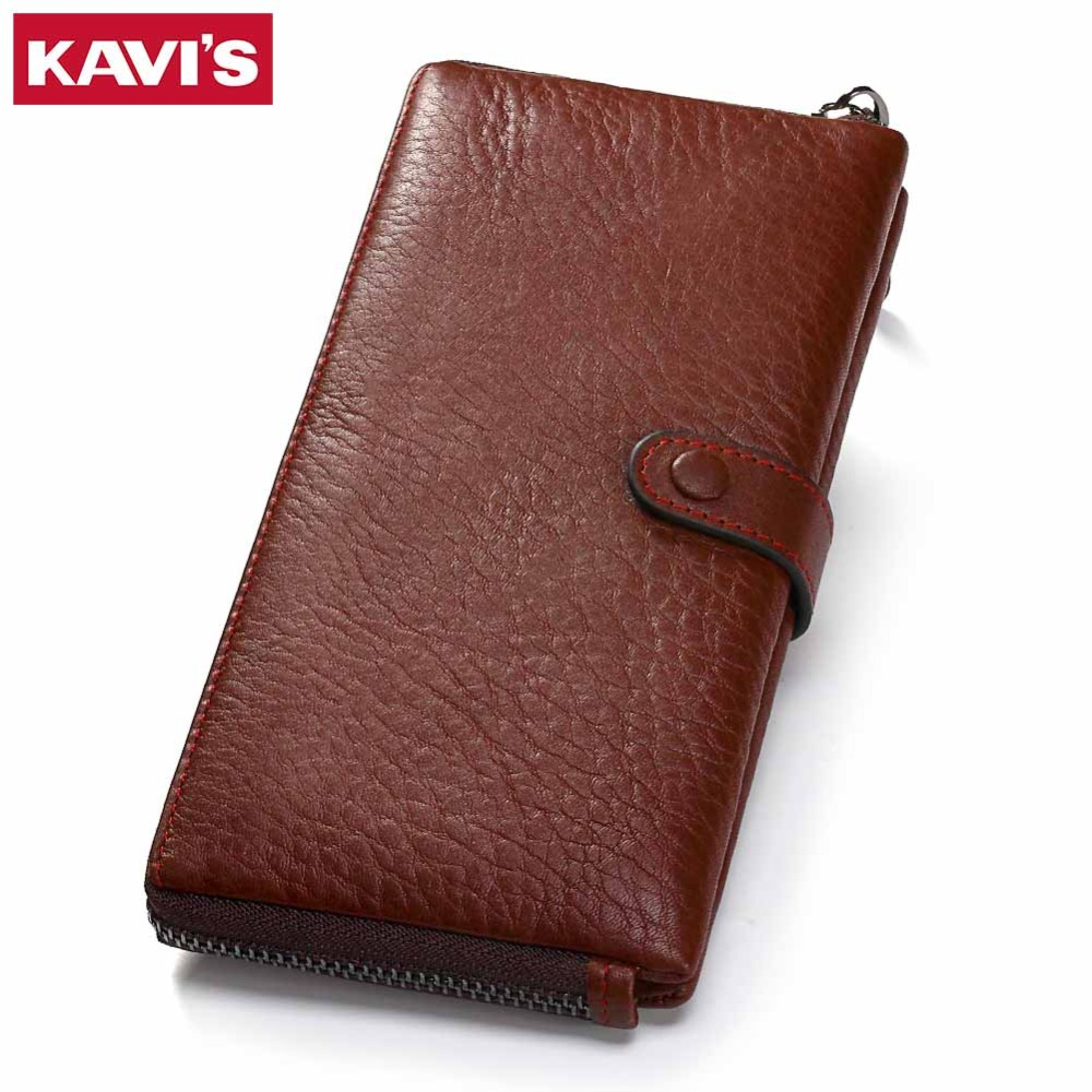 KAVIS Genuine Leather Wallet Female Clutch Walet Portomonee Rfid PORTFOLIO Long Women Perse Card Holder Handy and Coin Purse kavis genuine leather long wallet men coin purse male clutch walet portomonee rfid portfolio fashion money bag handy and perse