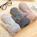 Luvas de Inverno do Outono das mulheres Cor Sólida Engrossar Quente Algodão de Lã Cashmere Luvas de Malha Estudante Inclusive Luvas Mittens