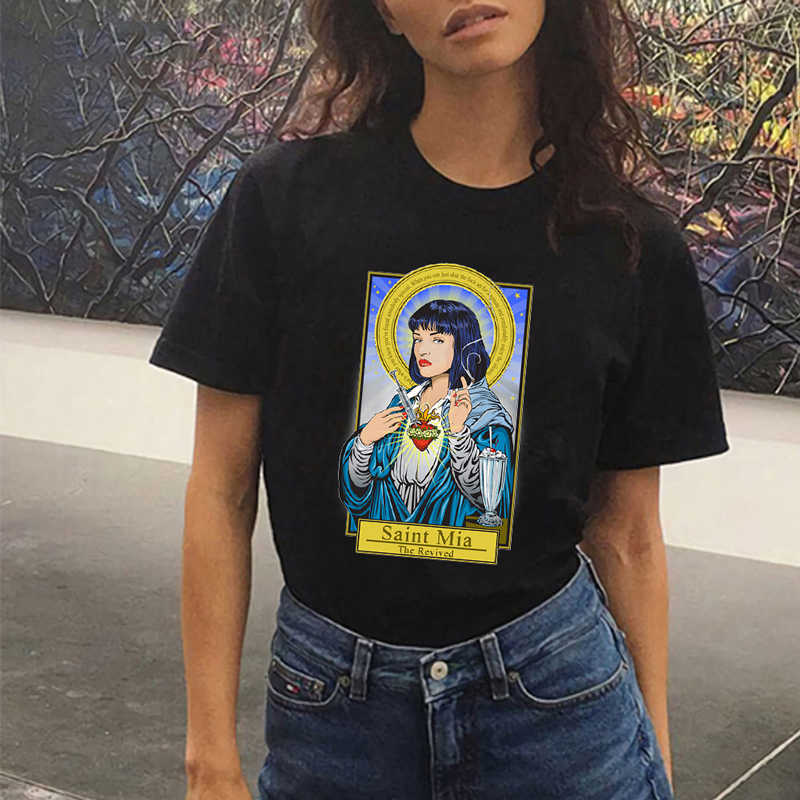 summer 90s harajuku Black t shirt women chemise femme tumblr pulp fiction printed graphic tees women o-neck short sleeve