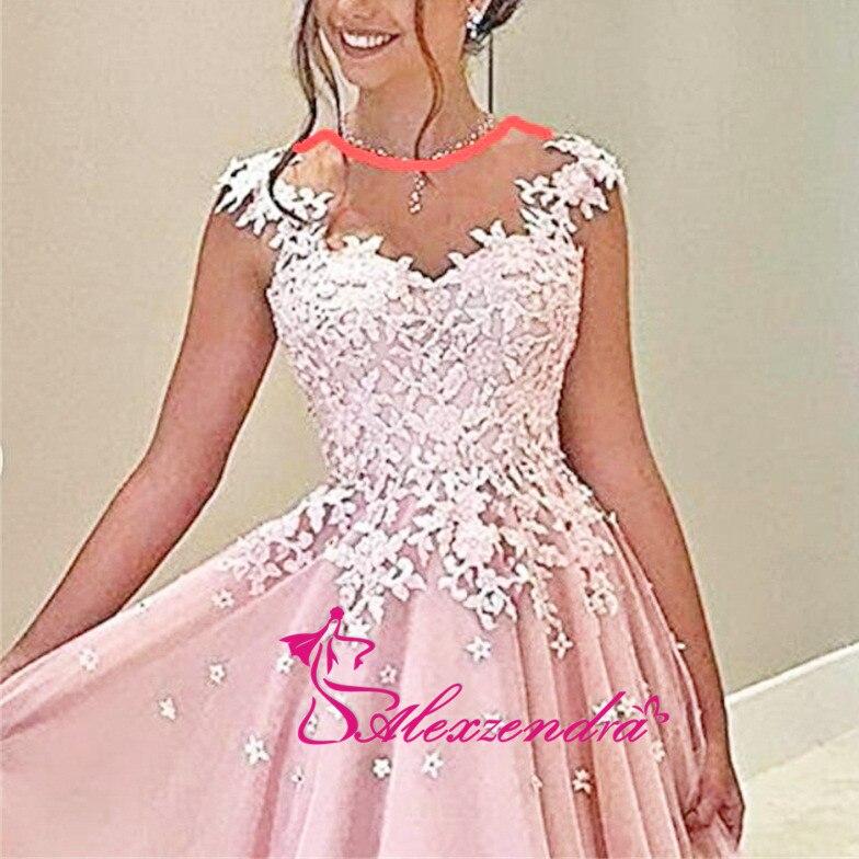 Alexzendra rose Tulle robes de bal encolure dégagée Illusion retour soirée robes de grande taille robe de soirée femmes - 5