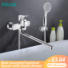 Micoe Bathroom Shower Bathtub Faucet Faucet Set Mixer Wall Mounted Waterfall Bathtub Faucet with Handheld Shower Head H-HC605 copper bathtub faucet shower chrome wall mounted waterfall shower faucet set bathroom handheld shower head faucet mixer tap