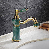 clearance European style bathroom imitation jade 360 rotating stage basin faucet painted golden tap hot and cold water faucet