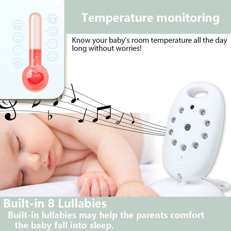 Wireless Video Baby Monitor with Camera Audio Security Camera 2 Way Talk IR Night Vision Temperature Monitoring with 8 Lullabies