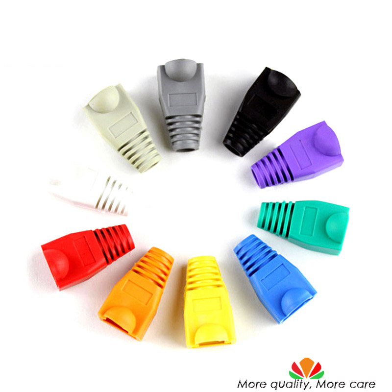 Eco-friendly RJ45 crystal head sheath ethernet cable protective casing A variety of colors random Batch Mixing Send 100pcs/bag eco friendly dyeing of silk with natural dye