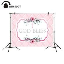 Allenjoy professionell fotografering bakgrund Rosa huvudgavel blomma kors Gud välsigna dop bakgrund nyfödda nya design photocall