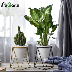 Nordic Style Geometric Iron Rack Holder Metal Stand with Ceramic Planter Desktop Garden Pot for Succulents Plants Home Decor