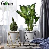Suporte de ferro geométrico de estilo nórdico  suporte de metal com plantador de cerâmica para suculentas  decoração para casa  jardim  plantas