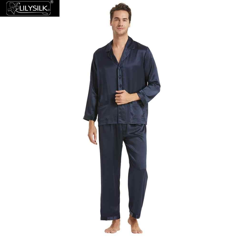 ccc27a1550a83 LilySilk Пижама мужская костюм белье пижамный комплект домашняя одежда для мужчин  шелковый длинные 22 момме чистого