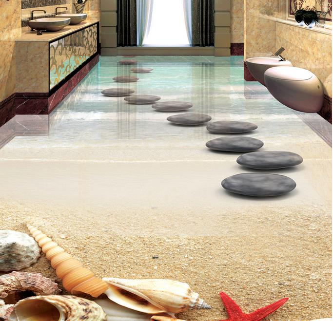 Picture In Picture Self Adhesive Vinyl Wallpaper 3d Flooring Beach Starfish Shells Stones Custom 3d Floor Photo Wallpaper