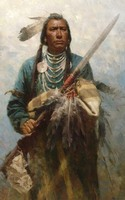 wholesale oil painting TOP ART # American Native Indian hunter painting 100% HAND PAINTED ART OIL painting