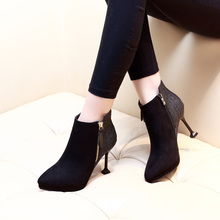 Sexy Women Boots Sheep Suede Winter High Heels Ankle Boots Shoes Women Autumn Ladies Short Boots Zip Black Shoes CH-B0044 fashion shoes women boots high heel zip ankle boots for women winter shoes suede boots black women ladies shoes botas