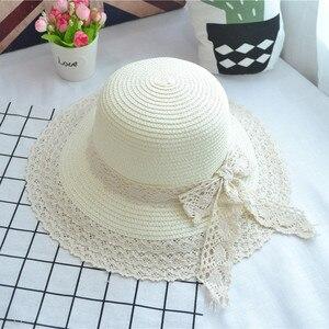 A céu aberto rendas lado arco moda seaside férias chapéu de pescador senhora Fêmea adulta ao ar livre proteção do sol chapéu de palha verão 2MZ39