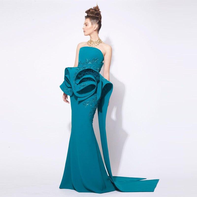 Mode Peplum Robes Formelle Bal Magnifique orient Du Robe Moyen 2018 De Sarcelle Perlée Bleu Sirène Bustier Arabe Soirée 7aqtW5w
