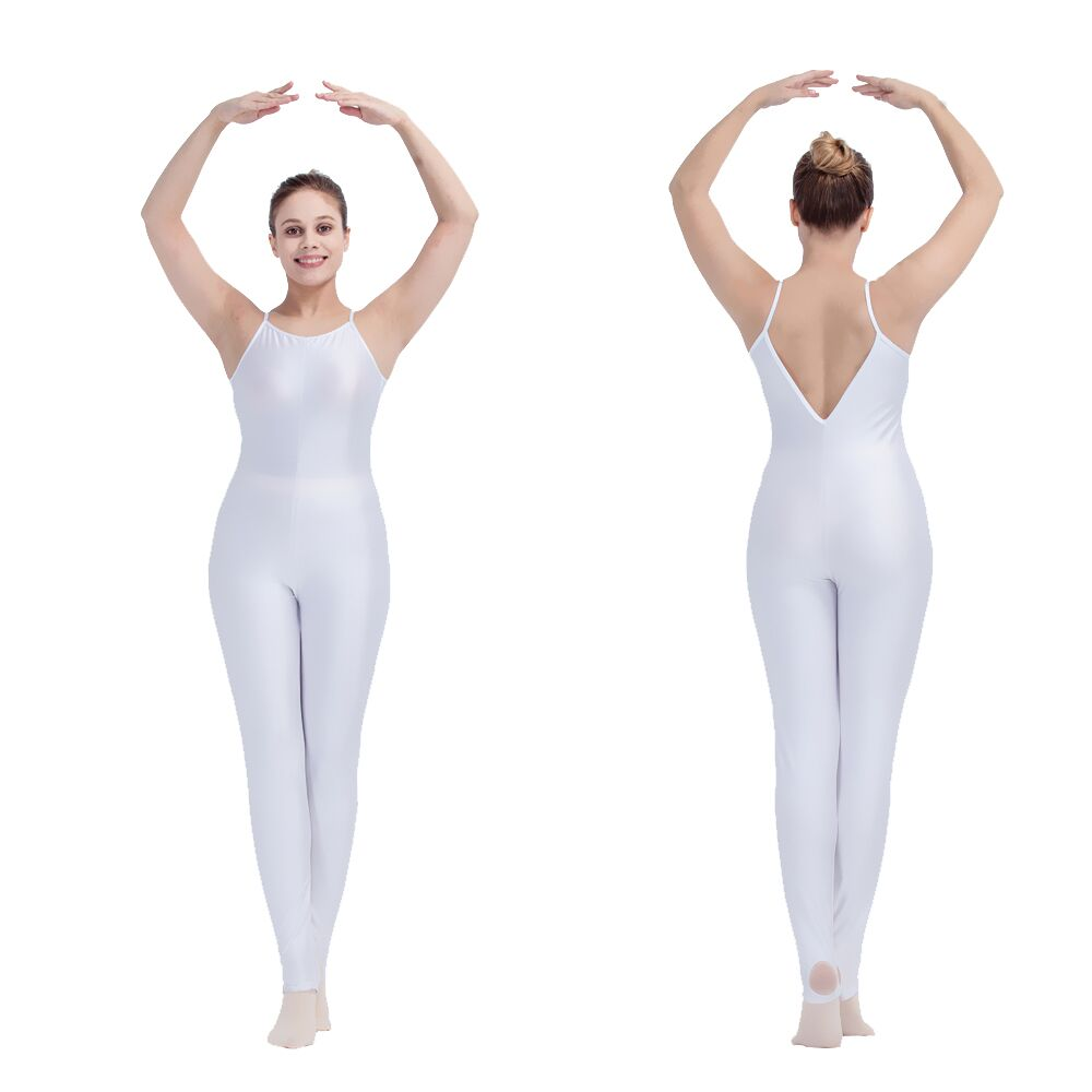 Retail White Colors Nylon Lycra Camisole V Back Dance Unitards For Ladies And Girls