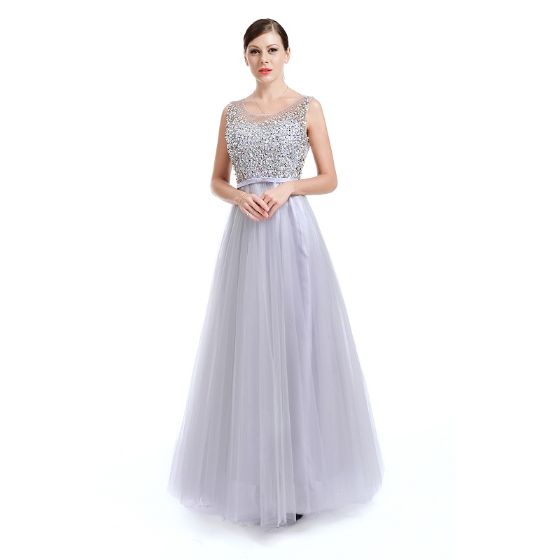 Silver Illusion Long Evening A-line Bridesmaid Dress