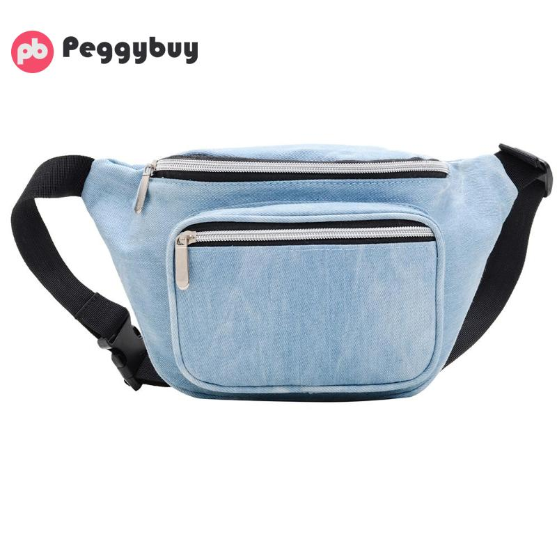 Solid Color Shoulder Bag Unisex Chest Bags Waist Pack Denim Zipper Pouch Brand Fashion Ladies Denim Waist Packs Women Organizer