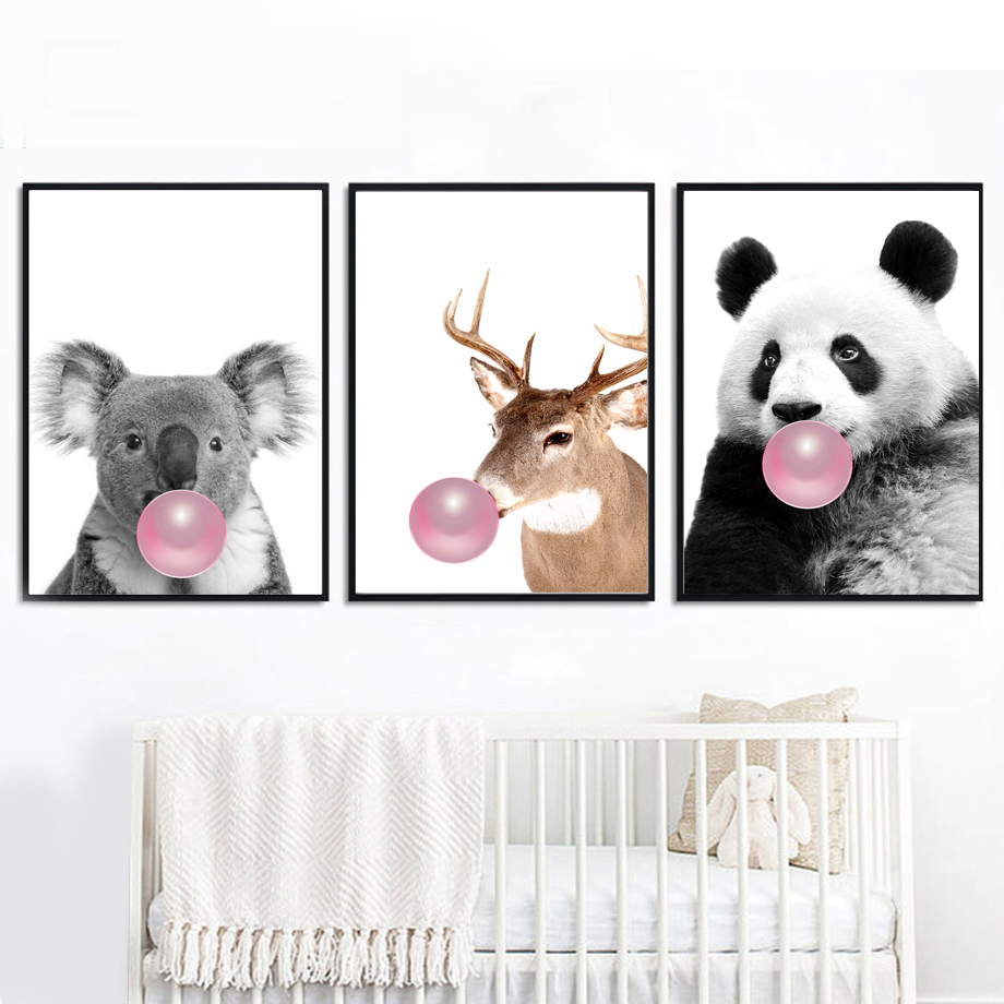 Panda Koala Deer Pink Bubble Animals Wall Art Canvas Painting Nordic Posters And Prints Pictures For Living Room Home Decor