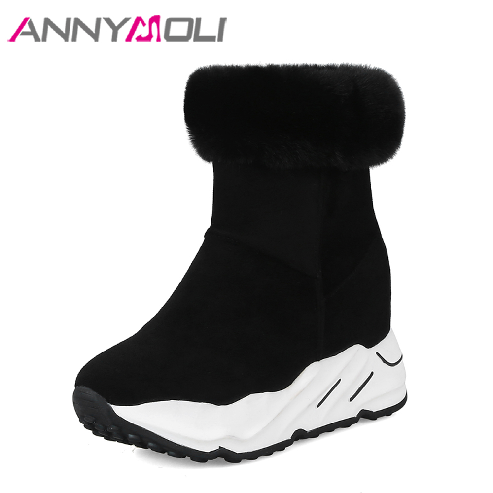 ANNYMOLI Women Snow Boots Winter Wedge Platform Boots Real Fur Hidden High Heels Female Boots 2018 Design Shoes Size 34-39 Black