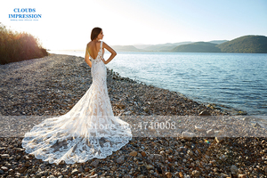Image 3 - Romantic Chapel Train Mermaid Wedding Dress 2019 V neck Beading Beach Lace Bride Dress Vestige De Noiva