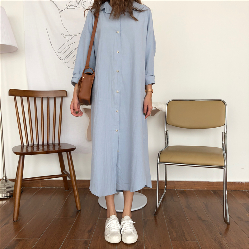 Vintage autumn Long Dress long Sleeve shirt turn down collar woman Lady loose shirt Casual Fashion maxi Dress cotton blue white 6