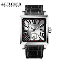 AGELCOER Men Wrist Watch Square Water Sport Watches 5ATM Waterproof Genuine Leather Clock Male Automatic Montre