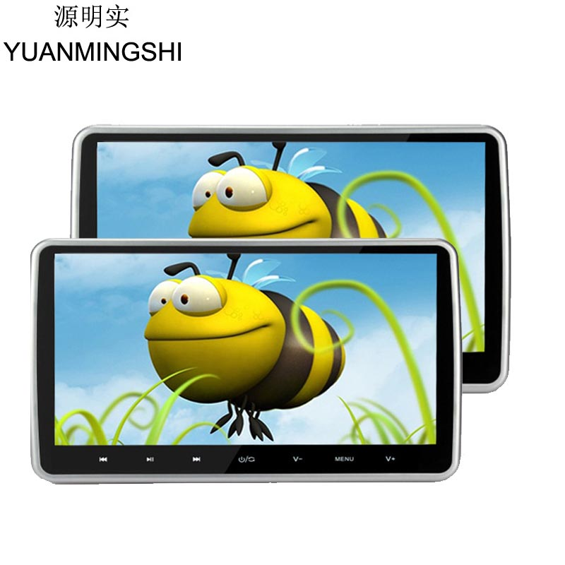 YUANMINGSHI 2pcs 10.1 Inches 1024*600 Car Headrest Monitor DVD Player TFT LCD Touch Screen DVD Player With USB SD HDMI Port FM 2x 10 1 inch 1024 600 car headrest monitor dvd player usb sd hdmi fm game tft lcd screen touch button support wireless headphone