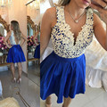New Arrival Royal Blue With White Appliques Lace Short Cocktail Dresses Sexy V-Neck Sheer Back Knee Length Cheap Cocktail Gowns
