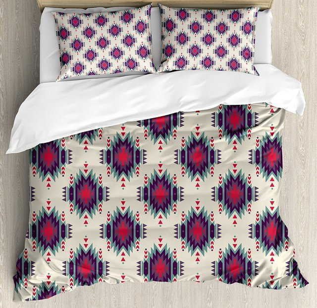 Etonnant Native American Duvet Cover Set Colorful Ethnic Primitive Folkloric Motif  Aztec Tribal Ornate First Nation 4