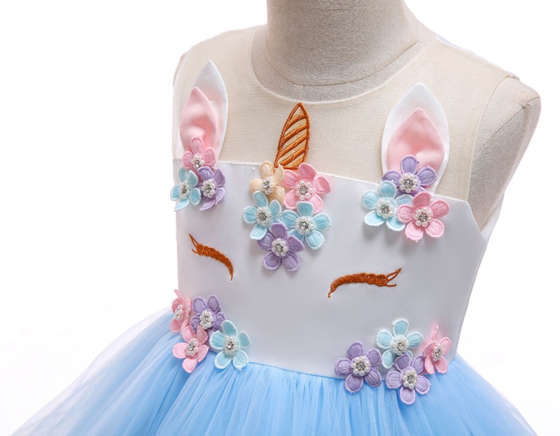 HTB1t9djajDuK1Rjy1zjq6zraFXak New Girls Dress 3Pcs Kids Dresses For Girl Unicorn Party Dress Christmas Carnival Costume Child Princess Dress 3 5 6 8 9 10 Year