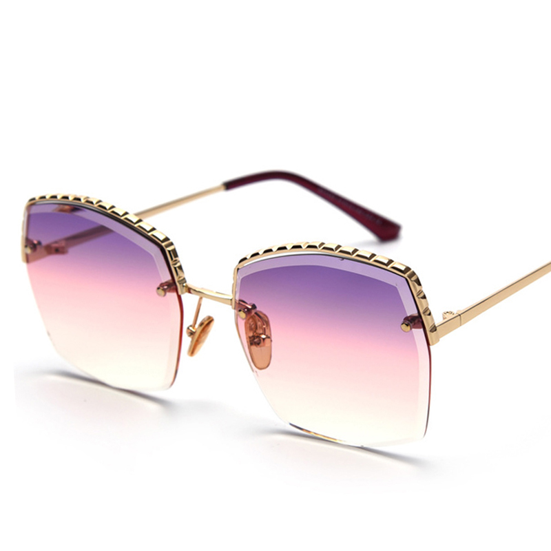 PAWXFB 2019 Fashion Sunglasses Rimless Women Sunglasses Vintage Alloy Frame Classic Brand Designer For Ladies Eyewear Oculos