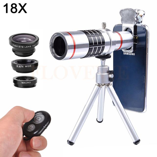 Universal 18x Zoom Telescópio Lente olho de Peixe Grande Angular Macro lentes Com Clipes Do Bluetooth Do Obturador Tripé para câmera Len