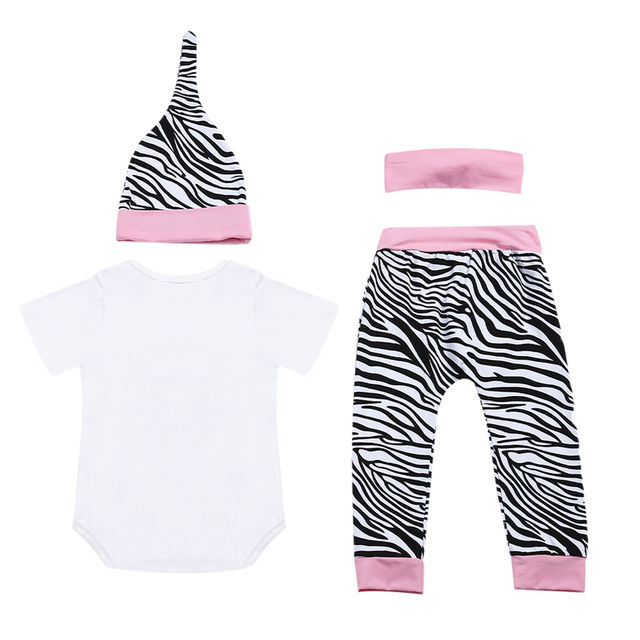 6e724ca7f 4pcs Newborn Infant Baby Girls Clothes Short Sleeve Bodysuit Tops+ ...