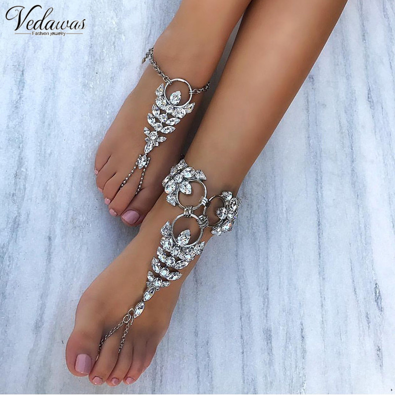 Vedawas 1 Pcs Facebook Hot Anklet Accessories Women Sexy Rhinestone  Barefoot Sandals Crystal Anklet Beach Foot Jewelry 1403-in Anklets from  Jewelry ... fc22c04ab1eb