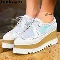 Lenksien в сдержанном стиле туфли на танкетке; обувь на платформе; обувь из кусочков кожи с острым носком на шнуровке женские туфли лодочки из на...