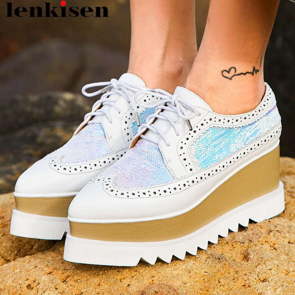 Lenksien concise style wedges platform patchwork pointed toe lace up women pumps natural leather punk dating casual shoes L18