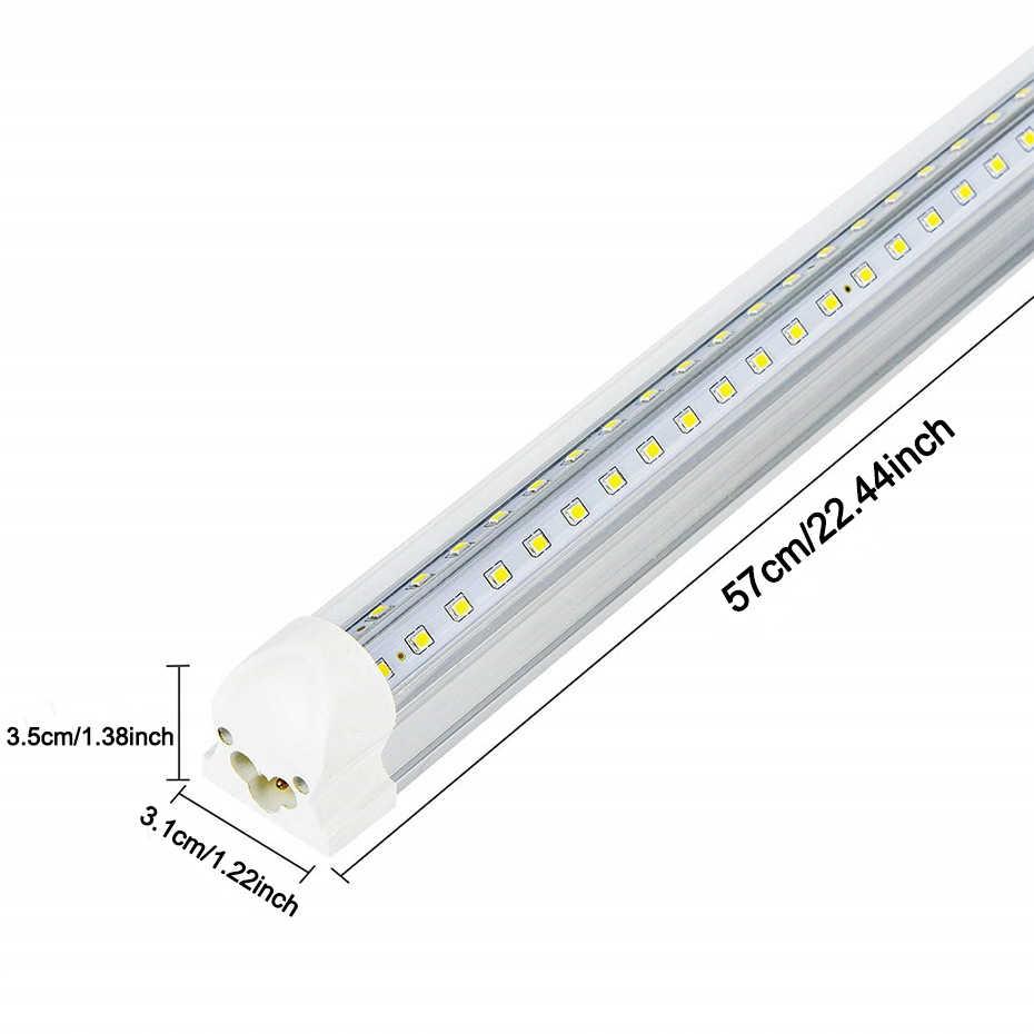 T8 LED Bulb Tube Light 2FT 20W 2000lm White Clear Milky Cover Dual V-Shape Integrated Single Fixture Tube Light Ceiling Light