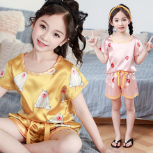 kids sleepwear girls pajamas for children Silk like set home clothe 2019 Summer nightgown sleepwear casual pajamas home clothe недорого