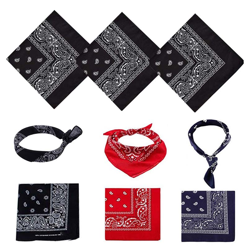 Cotton Paisley Bandana Cowboy Headscarf Unisex Print Head Wrap Scarf Wristband Cycling Face Mask For Adults Kids Pets