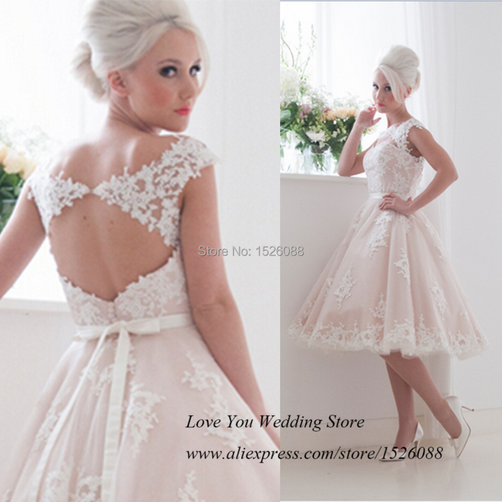 Princess Light Pink Lace Wedding Dress With Off The: Cheap Vintage Pink Wedding Dress Short Lace Bride Dresses