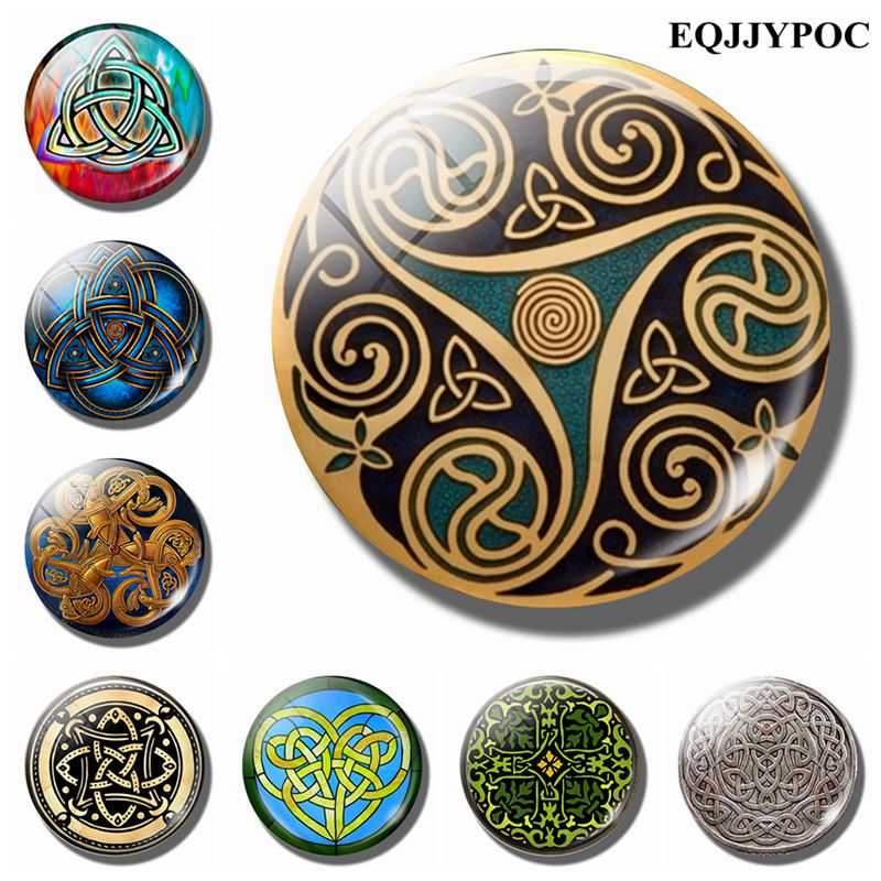 Celtic Knot 30 MM Fridge Magnet Ireland Traditional Culture Amulet Glass Dome Magnetic Refrigerator Stickers Home Decoration