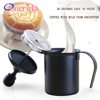 800ML/400ML Stainless Steel Double Mesh Milk Frother Manual Cappuccino Latte Milk Foam Maker Coffee Tool