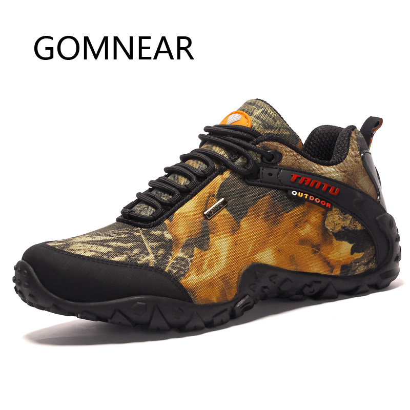 GOMNEAR Waterproof Canvas Hiking Shoes for Men Anti skid Breathable Hunting Trekking Shoes Fishing Camping Climbing