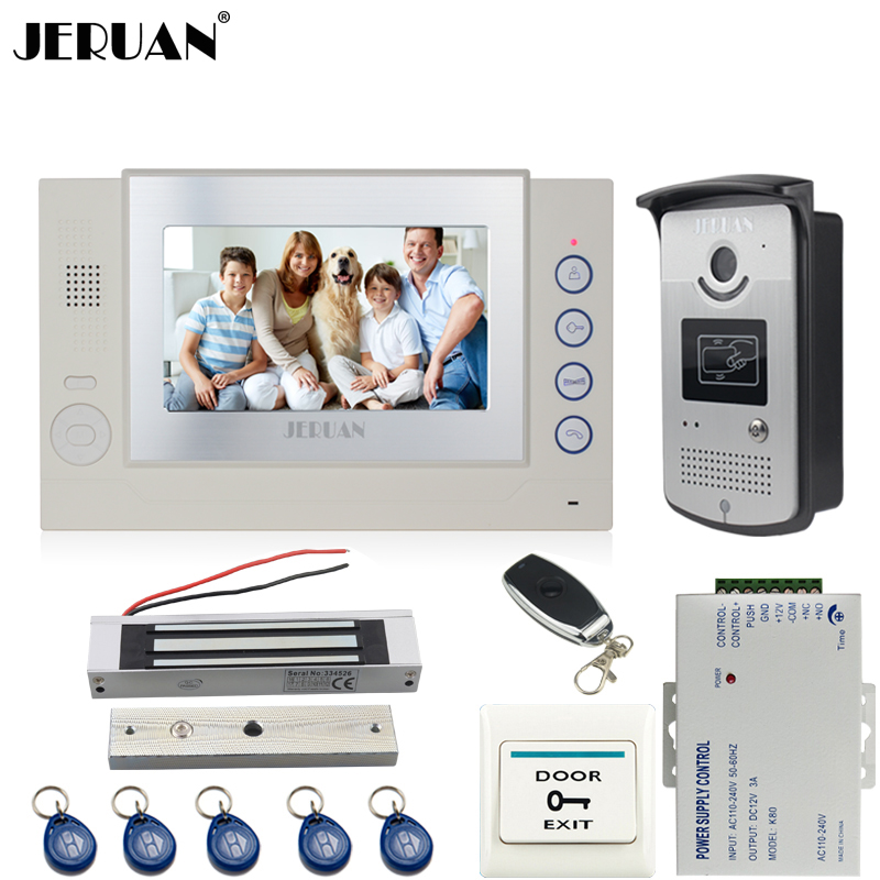 JERUAN Home Wired 7`` video door phone Record intercom system kit 700TVL RFID Access IR Night Vision Camera 180KG Magnetic lock