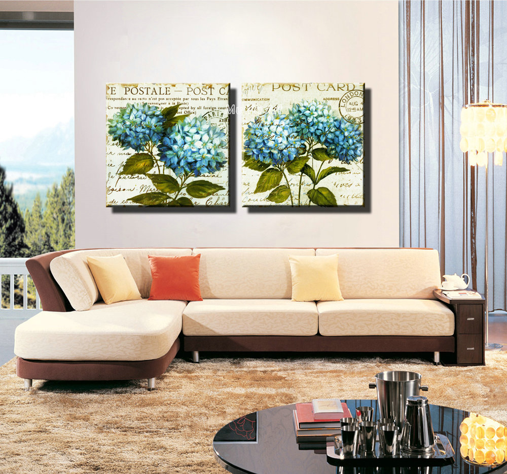 Beautiful Modern abstract canvas prints blue painting set printed canvas painting wall picture for bedroom kitchen decoration